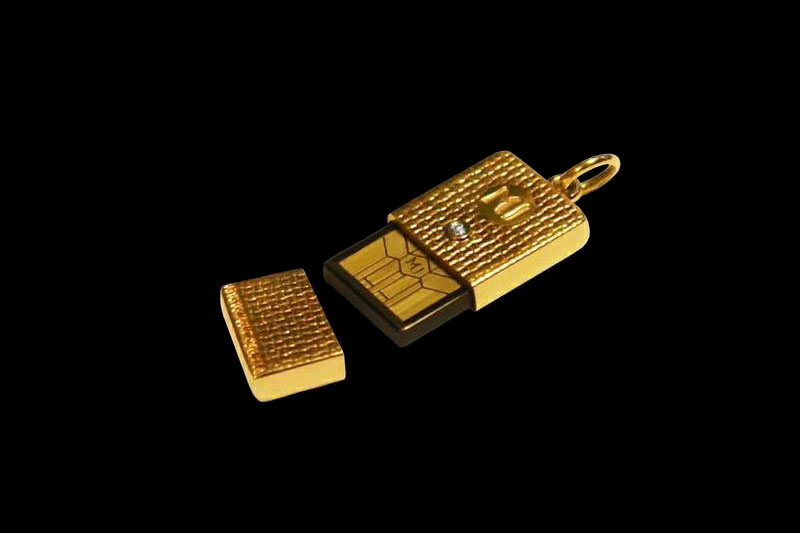MJ - USB Flash Drive Gold Diamond Edition - White & Yellow Gold Inlaid Brilliant - Super Micro Jeweler USB Stick