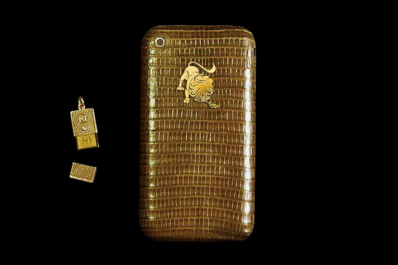 MJ - Apple iPhone Diamond Leather Gold 888 Iguana Limited Edition with Micro USB Flash Drive