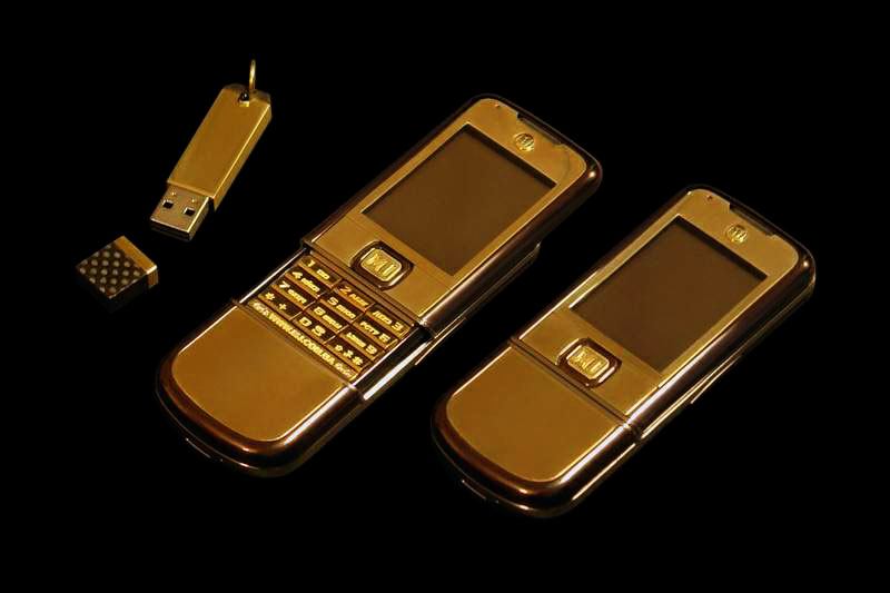 MJ - Nokia 8800 Arte Gold 777 Brown Carbon Edition with Unique Diamond Buttons Solid Gold 777 & Carbon USB Flash Drive 256gb Duo Speed